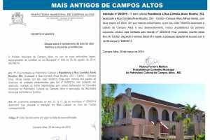 SECRETARIA MUNICIPAL DE CULTURA E TURISMO FINALIZA PROCESSO DE TOMBAMENTO DE UM DOS CASARÕES MAIS ANTIGOS DE CAMPOS ALTOS.
